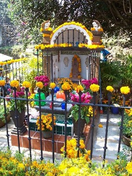 Decorated grave in Mexico
